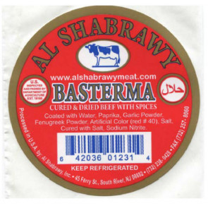 Basterma sliced